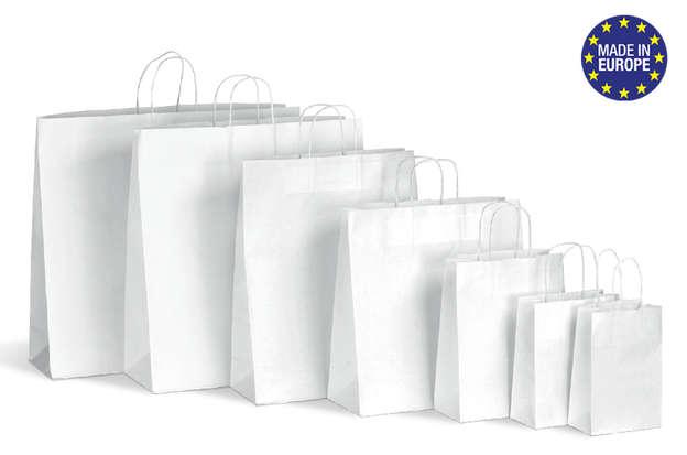 Papiertasche weiss mit Papierkordel : Ladentaschen einkaufstaschen modetaschen