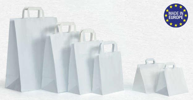 Papiertasche weiss mit Flachgriff : Ladentaschen einkaufstaschen modetaschen