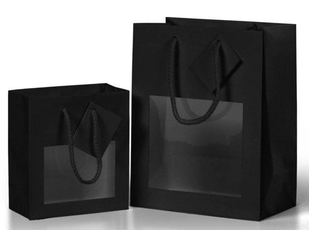 Geschenktasche schwarz mit Fenster : Verpackung für glasbehälter konfitürenglas preserve