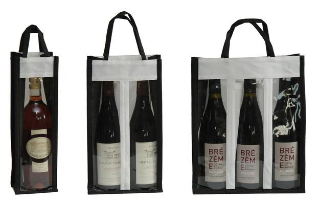 Vliestasche für 1/2/3 Flaschen m. Fenster : Verpackung fur flaschen und regionalprodukte