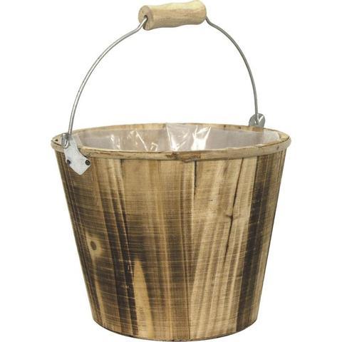 Deko-Eimerchen Holz m.Metallbügel : Korb geschenkkorb