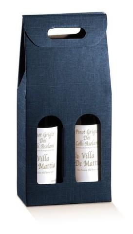 Flaschenkarton dunkelblau 2-Flaschen stehend 'Milano' : Verpackung fur flaschen und regionalprodukte