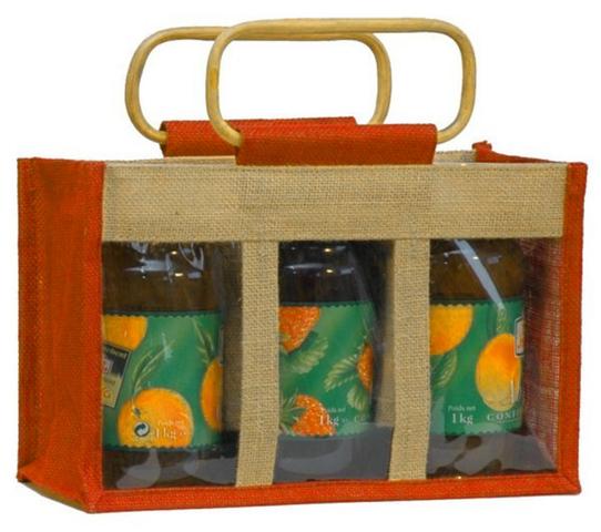 Große Geschenktasche Jute 3-Gläser m. Fenster & Rattangriffen : Verpackung für glasbehälter konfitürenglas preserve