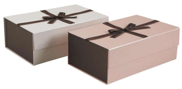 Set mit 2 Kuchenschachtel Pappe braun faltbar : Geschenkschachtel präsentbox