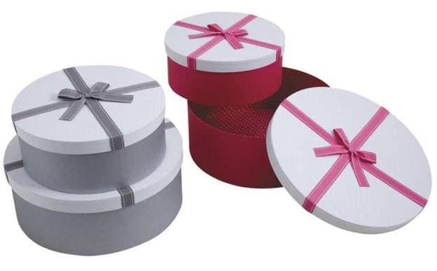 Geschenkschachteln Pappe rund m. Deckel u. Schleife : Geschenkschachtel präsentbox