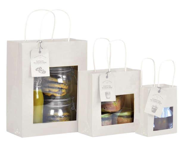 Krafttasche weiss m. Fenster : Verpackung für einmachgläser konfitürenglas preserve
