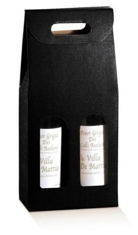 Flaschenkarton schwarz 2-Flaschen stehend 'Milano' : Verpackung fur flaschen und regionalprodukte