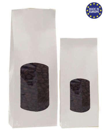 Krafttüte Bodenbeutel weiss m. Fenster : Verpackung für bäkerei konditorei