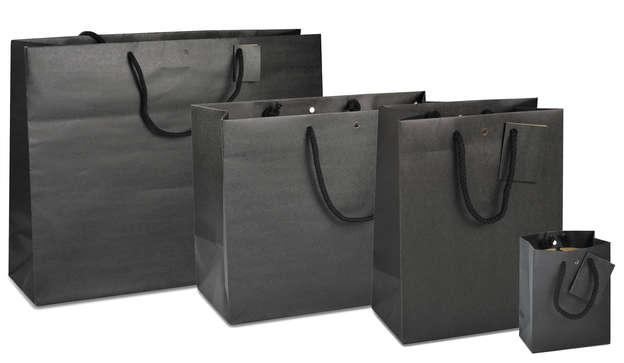 Geschenktasche Kraft schwarz matt : Ladentaschen einkaufstaschen modetaschen