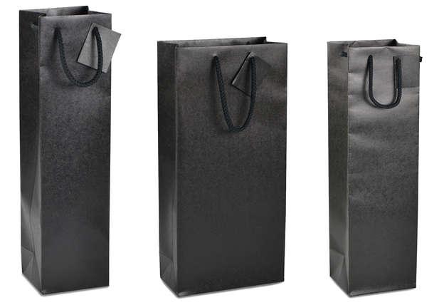 Geschenktasche Kraft schwarz 1/2/Magnum-Fl. Wein : Verpackung fur flaschen und regionalprodukte