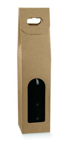 Flaschenkarton braun 1-Flasche 75 cl m. Griff  'Avana'  : Verpackung fur flaschen und regionalprodukte
