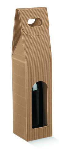 Flaschenkarton braun 1-Flasche 75 cl m. Griff 'Onda Avana' : Verpackung fur flaschen und regionalprodukte
