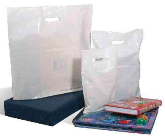 Plastikbeutel weiss Recyclings-Kunststoff m. Griffen XL : Ladentaschen einkaufstaschen