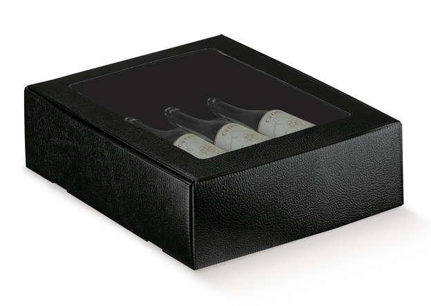 Gesch Weinkarton schwarz 3-Flaschen liegend m. Fenster : Verpackung fur flaschen und regionalprodukte