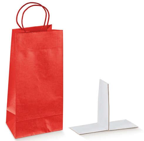 Geschenktasche Kraft rot glanz 2-Flaschen 'Seta Rosso' : Verpackung fur flaschen und regionalprodukte
