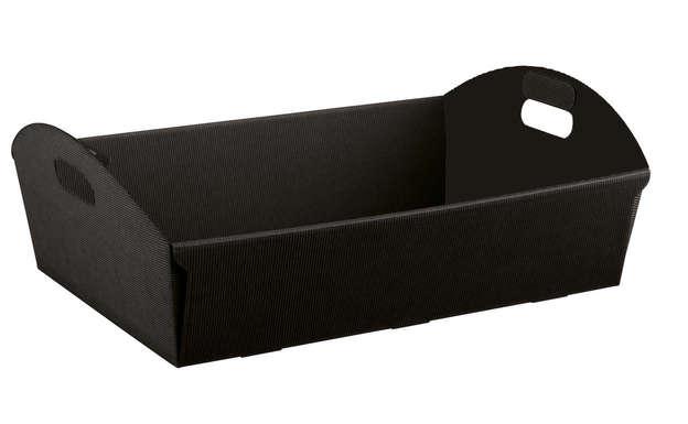Geschenkkorb Pappe 4-eckig schwarz m. Griffen : Korb geschenkkorb präsentierungskorb