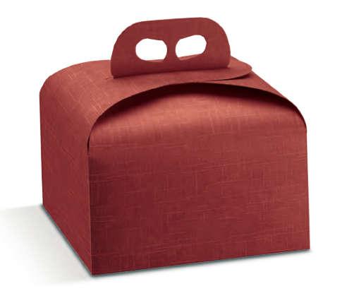 Kuchenkarton Panettone 4-eckig rot m. Griff : Geschenkschachtel präsentbox