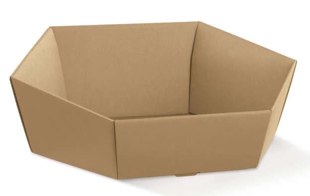 Pappkorb braun 6-kant 'Avana' : Korb geschenkkorb präsentierungskorb
