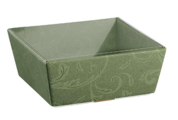 Geschenkkorb Pappe viereckig grün Damaskus m. Transparentdeckel : Korb geschenkkorb präsentierungskorb
