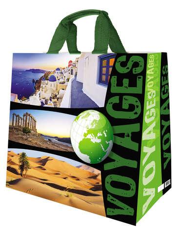 Shopper Einkaufstasche 33L PP bedruckt 'voyages' : Ladentaschen einkaufstaschen modetaschen