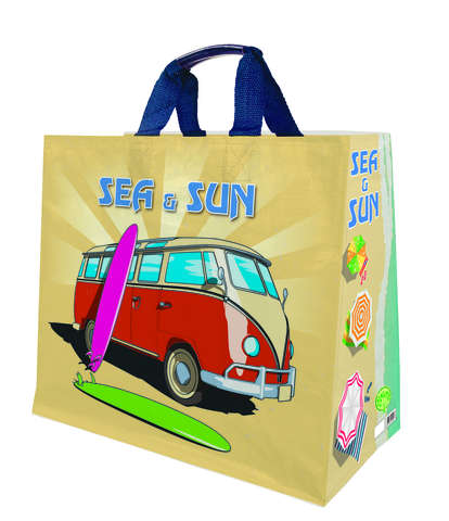 Shopper Einkaufstasche 33L PP bedruckt 'sea & sun' : Ladentaschen einkaufstaschen modetaschen