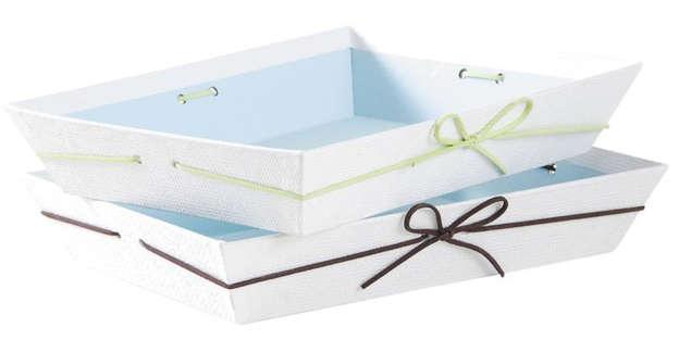 Geschenkkorb Pappe viereckig weiss-pastel m. Schleife - 2 St. : Korb geschenkkorb präsentierungskorb