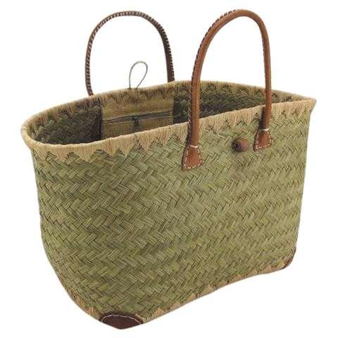 Einkaufskorb Seegras m. Ledergriffen u. Verstärkung : Ladentaschen einkaufstaschen modetaschen