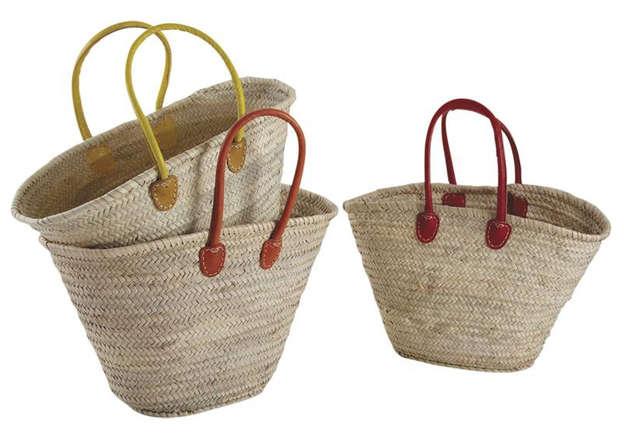 Einkaufskorb Palmblatt m. Lederhenkeln - 3 St. : Ladentaschen einkaufstaschen modetaschen