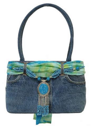 Jeanstasche m. langen Henkeln beschmückt : Ladentaschen einkaufstaschen