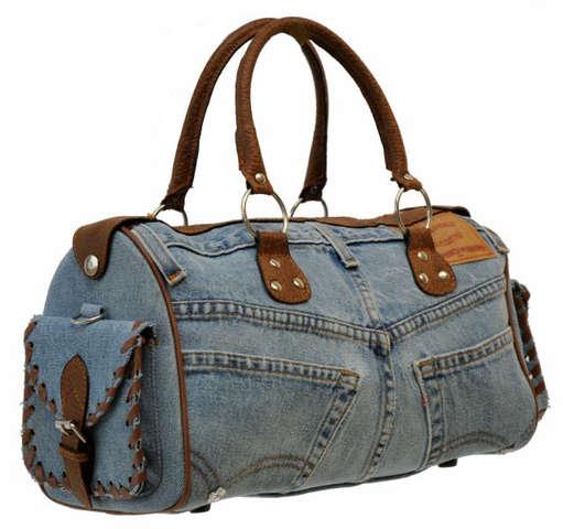 Jeanstasche lang m. kurzen Henkeln + Gurt : Ladentaschen einkaufstaschen