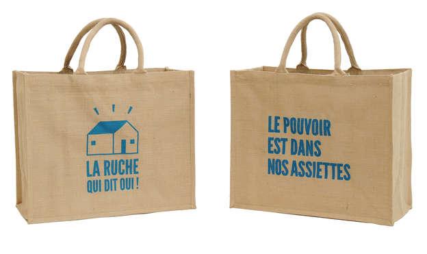 Einkaufstasche Shopper Jute naturbraun bedruckt 'La ruche qui dit oui' : Ladentaschen einkaufstaschen modetaschen