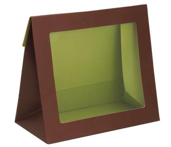 Geschenktasche Pappe braun-grün m. großem Fenster : Verpackung für einmachgläser konfitürenglas preserve