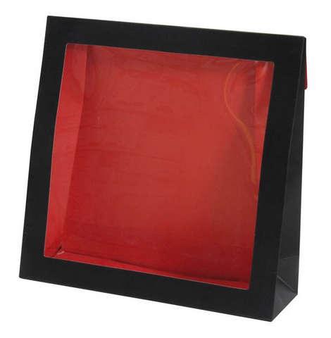 Geschenktasche Pappe schwarz-rot m. grossem Fenster : Verpackung für bäkerei konditorei