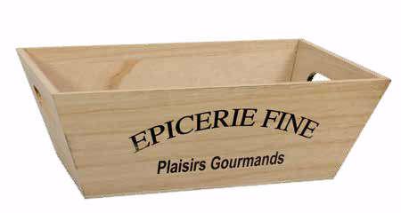 Geschenkkiste Holz viereckig 'Epicerie Fine' : Korb geschenkkorb präsentierungskorb