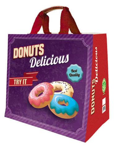 Shopper Einkaufstasche 30L PP bedruckt 'Donuts Delicious' : Ladentaschen einkaufstaschen
