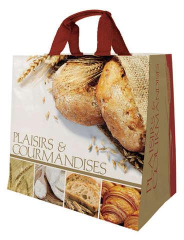 Shopper Einkaufstasche 30L PP bedruckt 'Plaisirs et gourmandises' : Ladentaschen einkaufstaschen modetaschen
