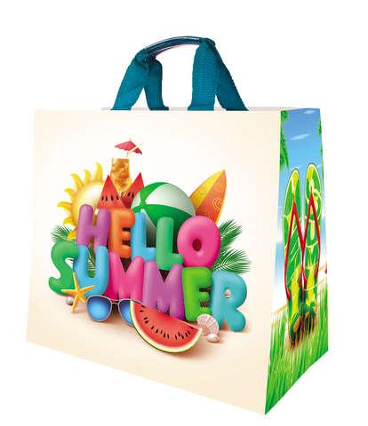 Shopper Einkaufstasche 33L PP bedruckt 'Hello summer' : Ladentaschen einkaufstaschen